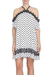 CeCe Equator Dot Lace Trim Halter Dress