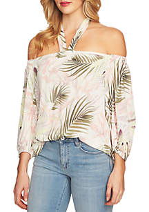 Off-the-Shoulder Soft Palm Print Blouse