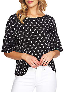 Bell Sleeve Printed Knit Blouse