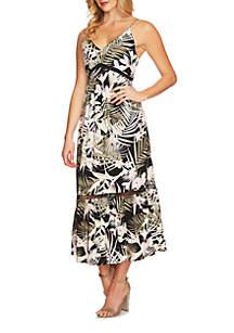V-Neck Soft Palm Maxi Dress