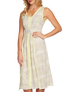 V-Neck Snake Print Ruffle Dress