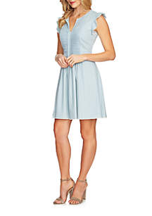 Flutter Sleeve Pintuck Denim Dress