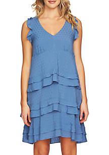 V-Neck Tier Ruffle Dress