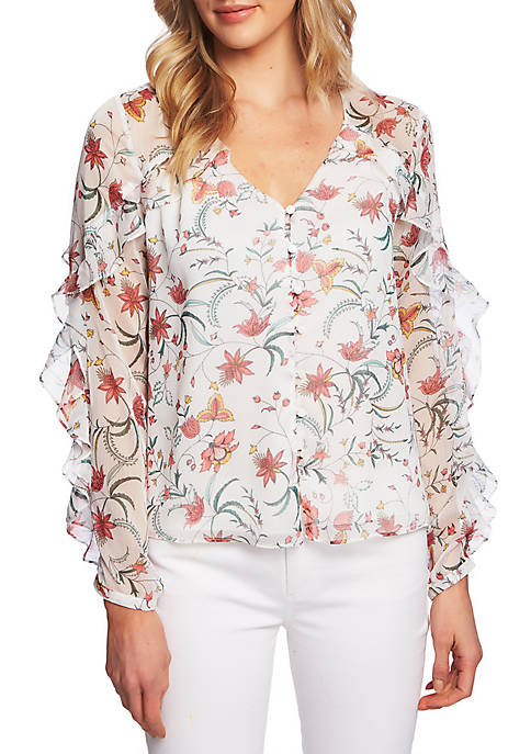 CeCe Long Sleeve Floral Ruffle Blouse