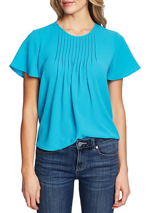CeCe Womens Short Sleeve Pin Tuck Blouse