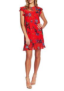 CeCe Flutter Sleeve Watercolor Floral Dress