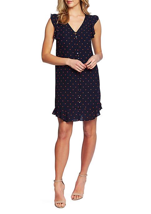 CeCe V Neck Dot Dress