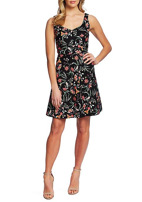 CeCe Sleeveless Floral Twill Dress