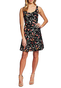 CeCe Sleeveless Floral Twill Dress