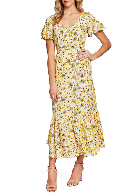 CeCe Turmeric Short Sleeve Moroccan Floral Midi Dress