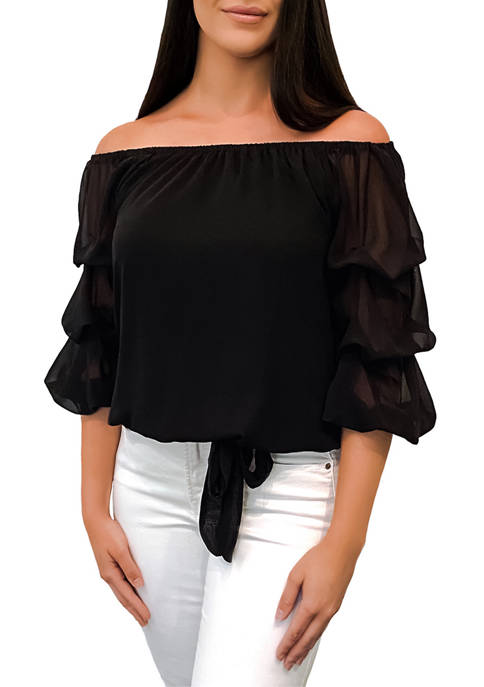 Womens Off-the-Shoulder Bubble Sleeve Top
