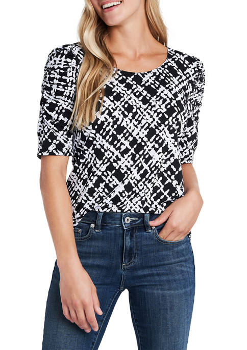 Elbow Cinched Sleeve Plaid Top