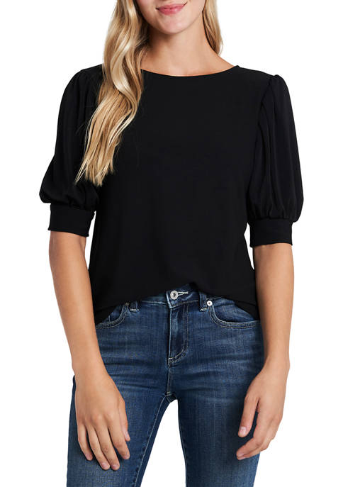 CeCe Elbow Puff Sleeve Top