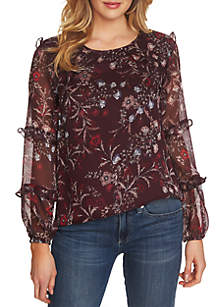 Floral Printed Long Sleeve Tier Ruffle Blouse