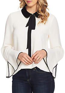 Collar Tie Neck Blouse