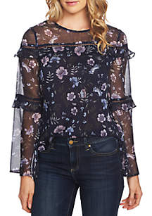 Long Ruffle Tier Sleeve Floral Blouse