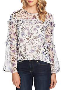 CeCe Long Ruffle Tier Sleeve Floral Blouse