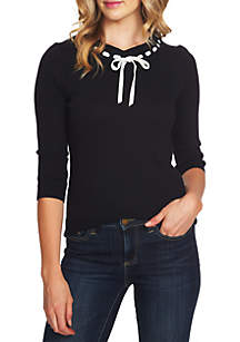 3/4 Sleeve Lace Bow Sweater