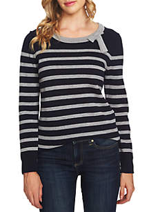 Long Sleeve Bow Neck Stripe Sweater