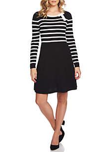 Bow Neck Stripe Sweater Dress