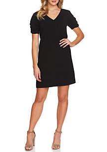 Ruched Sleeve V-Neck Crepe Dress