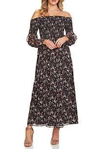 Abbey Floral Smock Off-the-Shoulder Maxi Dress