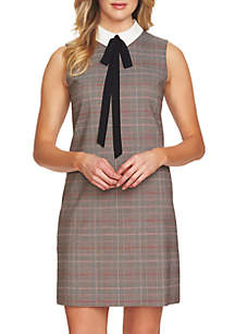 Tie Neck Collar Menswear Sheath Dress