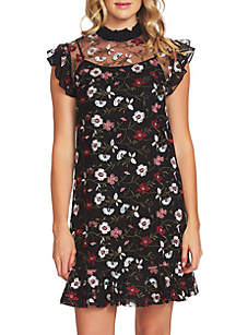 Sleeveless Floral Mesh Dress
