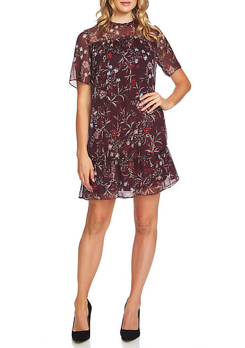 CeCe Short Sleeve Floral Ruffle Dress