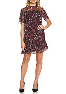 Short Sleeve Floral Ruffle Dress