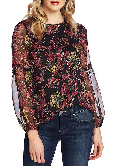CeCe Long Sleeve Floral Blouse