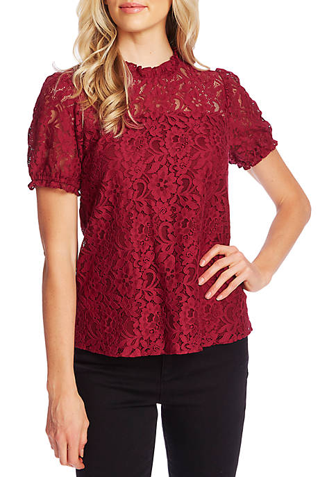 CeCe Puff Sleeve Lace Blouse