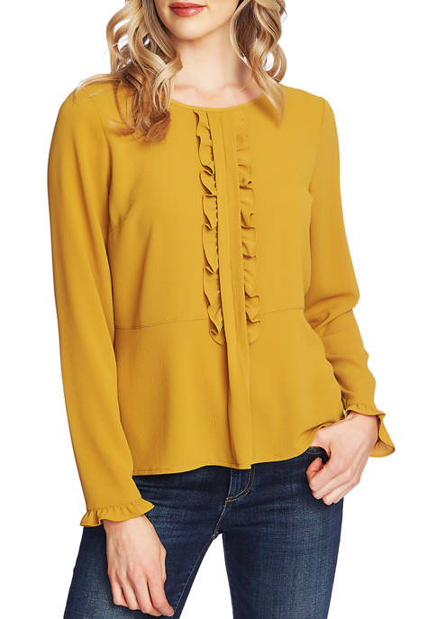 CeCe Womens Long Sleeve Soft Textured Blouse