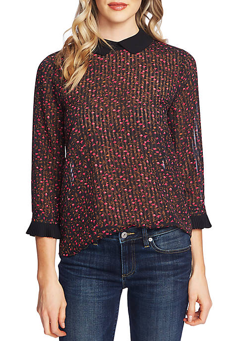 CeCe 3/4 Pleated Sleeve Floral Blouse