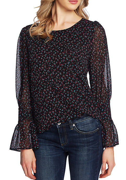 CeCe Womens Long Sleeve Floral Blouse With Tie