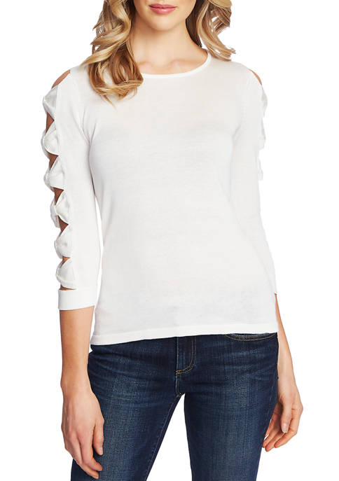 Womens Long Sleeve Crew Neck Sweater with Bows