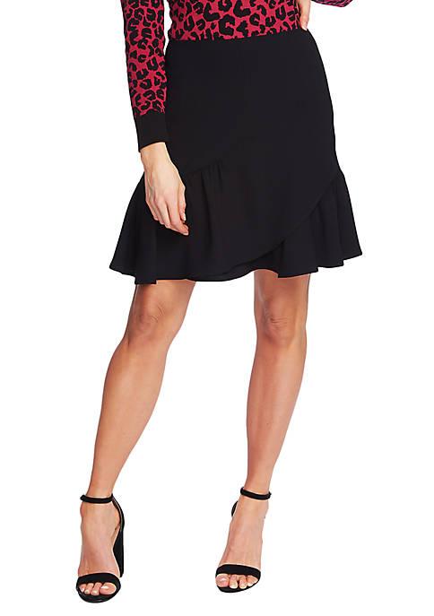 CeCe Asymmetrical Ruffle Mini Skirt