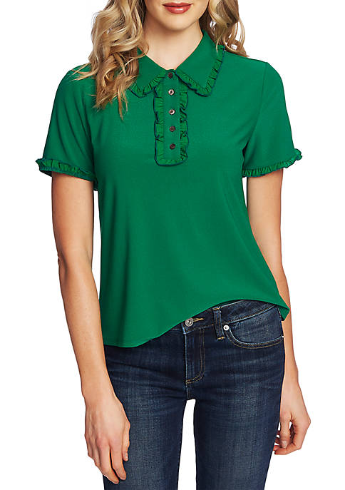 Short Sleeve Collared Knit Top with Ruffle Trim