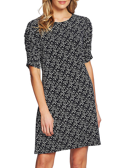 CeCe Ruched Sleeve Floral Dress