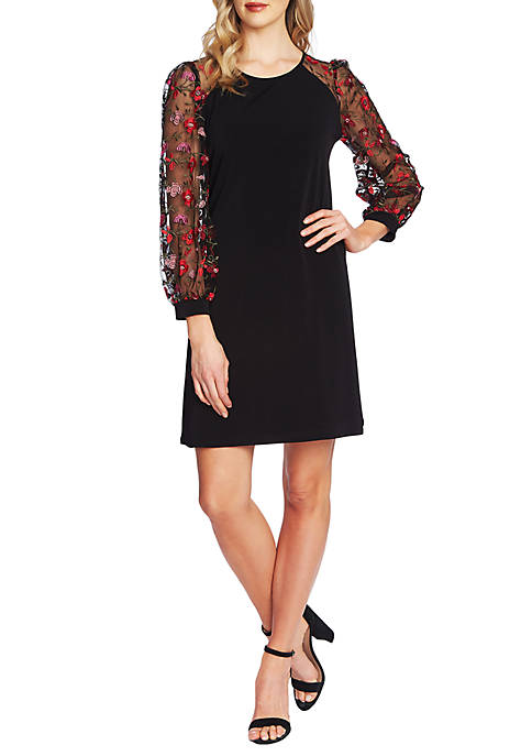 CeCe Long Puff Sleeves Embroidered Floral Dress
