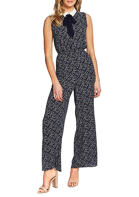 CeCe Sleeveless Collared Lace Floral Jumpsuit