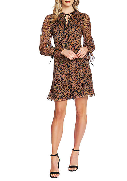 CeCe Long Sleeve Leopard Cluster Dress with Neck