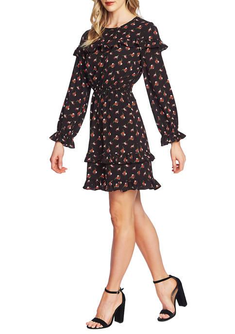 CeCe Womens Long Sleeve Wildflower Fling Dress