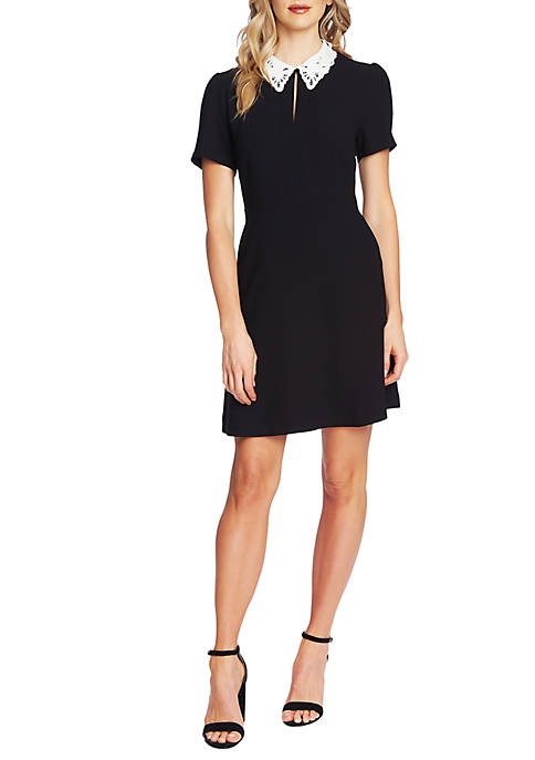 CeCe Short Sleeve Mock Collared Dress