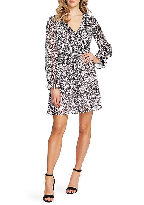 Womens Long Sleeve Leopard Pintuck Dress