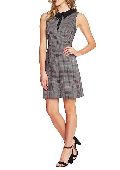 Sleeveless Plaid Collared Dress