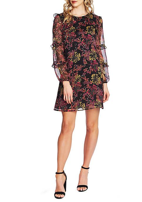 CeCe Long Sleeve Floral Ruffle Dress
