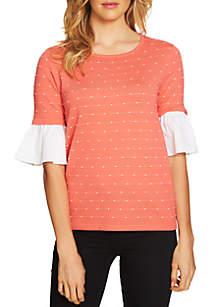 Flare Sleeve Mix Media Sweater