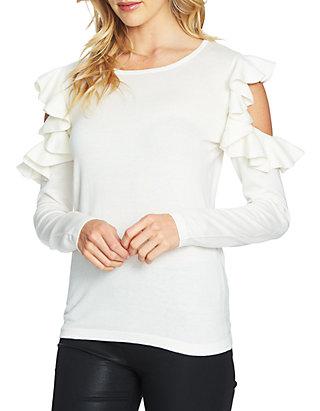 3386e8121 CeCe Ruffle Cold Shoulder Sweater   belk