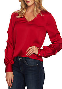 Puffed Long Sleeve V-Neck Blouse